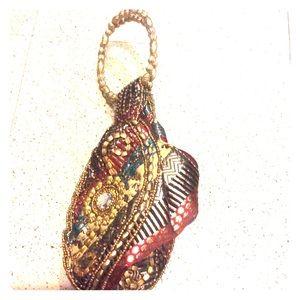 Handbags - NWT Indian beaded silk evening potli purse bag